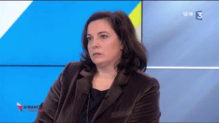 Emmanuelle Cosse, ministre du Logement, sur le plateau de France 3, dimanche 11 décembre (FRANCE 3)