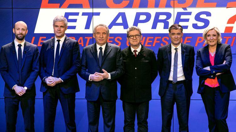 Stanislas Guerini (LREM),Laurent Wauquiez (LR),François Bayrou (Modem), Jean-Luc Mélenchon (LFI), Olivier Faure (PS) et Marine Le Pen (RN), le 20 mars 2019 sur le plateau de BFMTV. (KENZO TRIBOUILLARD / AFP)