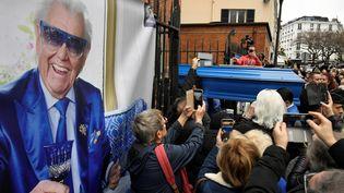 Les funérailles de Michel Catty à l'église St-Jean-de-Montmartre (LIONEL BONAVENTURE / AFP)