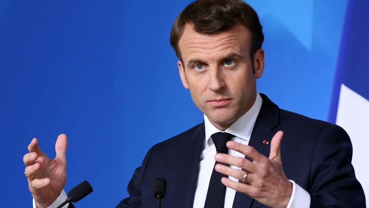 Emmanuel Macron à Bruxelles (Belgique), le 22 mars 2019. (DURSUN AYDEMIR / ANADOLU AGENCY / AFP)