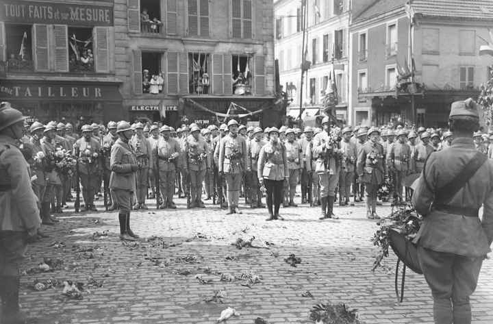Le 132e régiment d'infanterie de retour à Fontenay-sous-Bois (Val-de-Marne), le 31 mai 1919. (AFP )