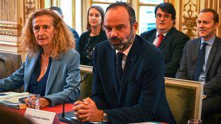 Édouard Philippe, le 1er ministre aux côtés de Nicole Belloubet, ministre de la Justice à Matignon le 6 novembre 2019. (DOMINIQUE FAGET / POOL / AFP POOL)