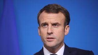 Emmanuel Macron lors d'une conférence de presse à Bruxelles (Belgique), le 14 décembre 2018. (LUDOVIC MARIN / AFP)