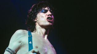 """Mick Jagger lors d'un concert des Rolling Stones à Cologne (Allemagne) le 4 septembre 1973, quelques jours après la sortie fin août de leur 11e album """"Goat's Head Soup"""". (GIJSBERT HANEKROOT / REDFERNS / GETTY IMAGES)"""
