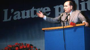 François Mitterand prononcce un discours le 6 avril 1981 en tant que candidat socialiste pour l'élection présidentielle. (JEAN-CLAUDE DELMAS / AFP)