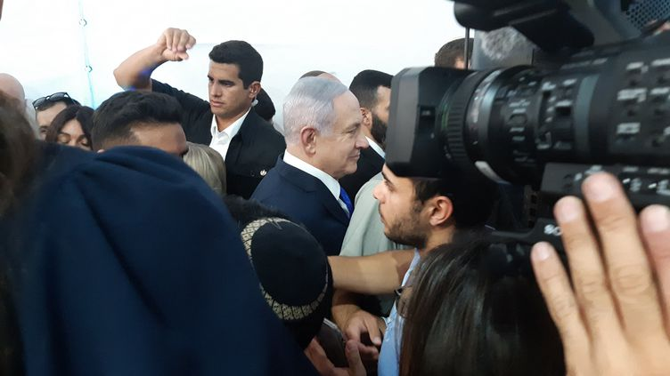 Le Premier ministre israélien Benyamin Nétanyahou le 4 septembre 2019 à Hébron (Cisjordanie) (FRÉDÉRIC MÉTÉZEAU / RADIO FRANCE)