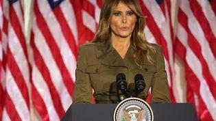 La Première dame des Etats-Unis Melania Trump, à la convention nationale des républicains, le 25 août 2020, à la Maison Blanche. (ALEX WONG / GETTY IMAGES NORTH AMERICA)