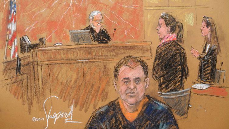 """Le baron de la drogue Joaquin Guzman, connu sous le nom d'""""El Chapo"""", lors de son procès à New York (Etats-Unis), le 3 février 2017. (JOHANNES SCHMITT-TEGGE / DPA / AFP)"""