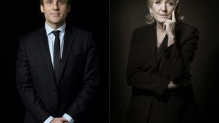 Emmanuel Macron est arrivé en tête du premier tour de l'élection présidentielle avec 24,01% des voix devant Marine Le Pen, qui a obtenu 21,30%, selon les résultats définitifs publiés lundi 24 avrilpar le ministère de l'Intérieur. (ERIC FEFERBERG / JOEL SAGET / AFP)