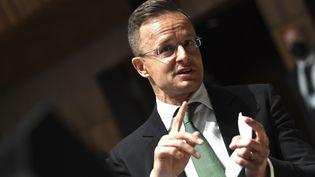 Le ministre hongrois des Affaires étrangères,Peter Szijjarto, le 22 juin 2021 au Luxembourg. (JOHN THYS / POOL / AFP)