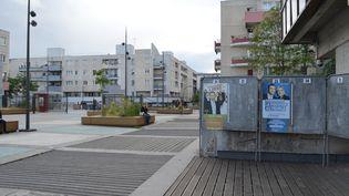 Les affichespour les élections européennes sont collées devant la mairie de Tremblay-en-France (Seine-Saint-Denis), le 28 mai 2019. (CAMILLE ADAOUST / FRANCEINFO)