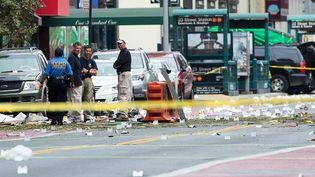La 23e rue à New York, dans le quartier deChelsea au cœur de Manhattan, le 18 septembre 2016, au lendemain de l'explosion d'une bombe qui a blessé 29 personnes. (DREW ANGERER / GETTY IMAGES NORTH AMERICA)