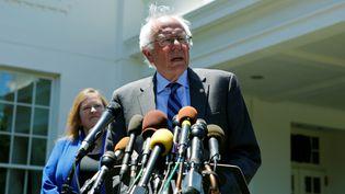 Bernie Sanders, candidat à la primaire démocrate, s'exprime depuis la Maison Blanche (Washington), le 9 juin 2016. (GARY CAMERON / REUTERS)