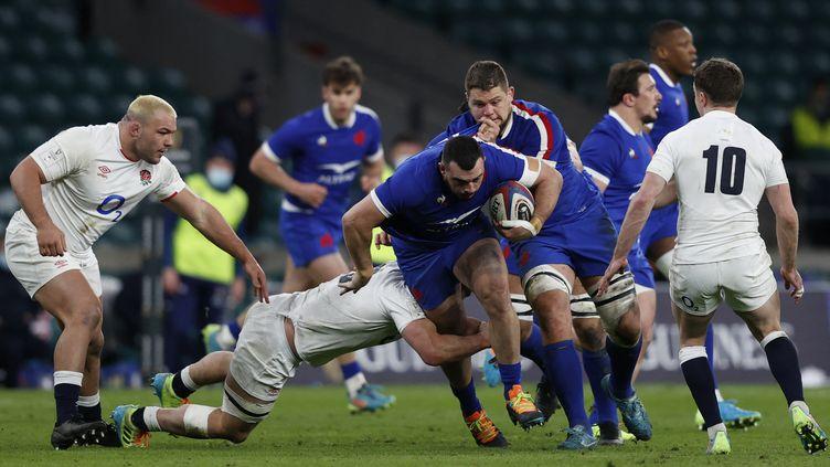 La rencontre entre le XV de France et l'Angleterre lors du Tournoi des six nations, le 13 mars 2021 à Twickenham (Royaume-Uni). (ADRIAN DENNIS / AFP)