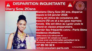 L'avis de recherche diffusé par le Consulat du Sénégal à Paris. (CONSULAT DU SENEGAL)