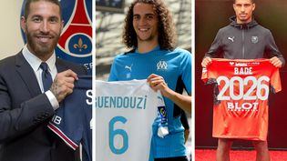 Sergio Ramos, Matteo Guendouzi et Loïc Badé (PSG / FRANCK PENNANT / LUCIE AMADIEU)