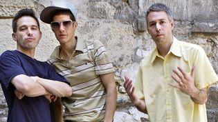 (de gauche à droite) Ad-Rock, Mike D et Adam Yauch des Beastie Boys en mai 2004 à Paris  (Bertrand Guay / AFP)