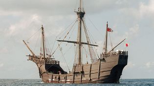 Une réplique de la Santa Maria de Christophe Colomb aux Bahamas (octobre 1991)  (Andrew Itkoff / AFP)