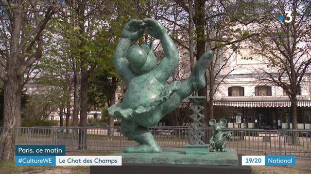 Paris : le Chat de Philippe Geluck exposé sur l'avenue des Champs-Élysées