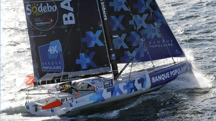 Armel Le Cléac'h sur son voilier, Banque Populaire (PHILIPPE CH?REL / MAXPPP)