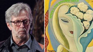 """Eric Clapton le 13 avril 2013 au Madison Square Garden de New York ; à droite : la pochette de l'album """"Layla and Another Assorted Love Songs"""" (1970)  (Greg Allen / Rex Features (pour la photo))"""