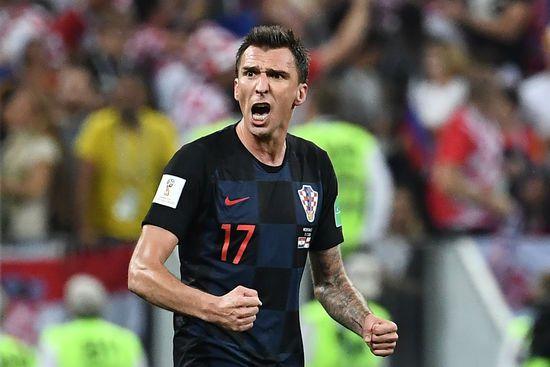 L'attaquant croate Mario Mandzukic en demi-finale de la Coupe du monde contre l'Angleterre, le 11 juillet 2018, à Moscou (Russie). ((FRANCK FIFE / SAMAD / AFP))