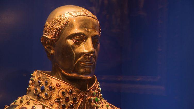 Buste de San Gennaro exposé à Loches jusqu'au 1er octobre 2021. (CAPTURE D'ÉCRAN FRANCE 3 / MAUFFREY François-Xavier)
