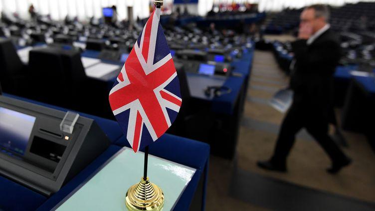 Le drapeau britannique au Parlement européen à Strasbourg (Bas-Rhin), le 16 janvier 2018. (FREDERICK FLORIN / AFP)