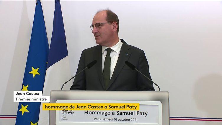 Le Premier ministre, Jean Castex, lors d'un hommage à Samuel Paty, au ministère de l'Education nationale, le 16 octobre 2021. (FRANCEINFO)
