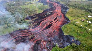 Des coulées de lave provenant duvolcan Kilauea, à Hawaï, le20 mai 2018. (HANDOUT / US GEOLOGICAL SURVEY / AFP)