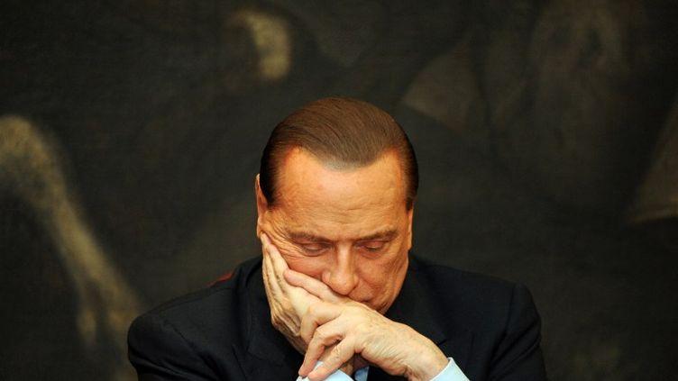 Silvio Berlusconi le 1er février 2012 au Parlement italien, à Rome (Italie). (ANDREAS SOLARO / AFP)