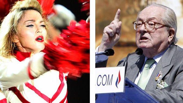 A gauche, Madonna sur scène à Abu Dhabi le 6 juin - A droite, Jean-Marie Le Pen à Paris le 1er mai  (A gauche, Marwan Naamani / AFP - A droite, Kenzo Tribouillard / AFP)