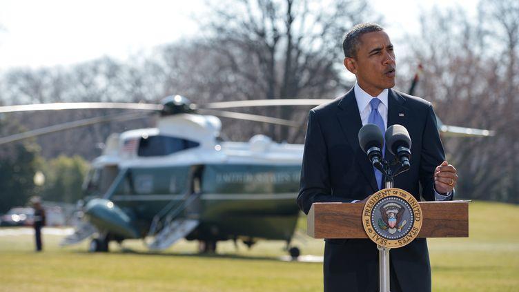 Le président Barack Obama annonce de nouvelles sanctions contre la Russie à la Maison Blanche, àWashington (Etats-Unis), le 20 mars 2014. (MANDEL NGAN / AFP)