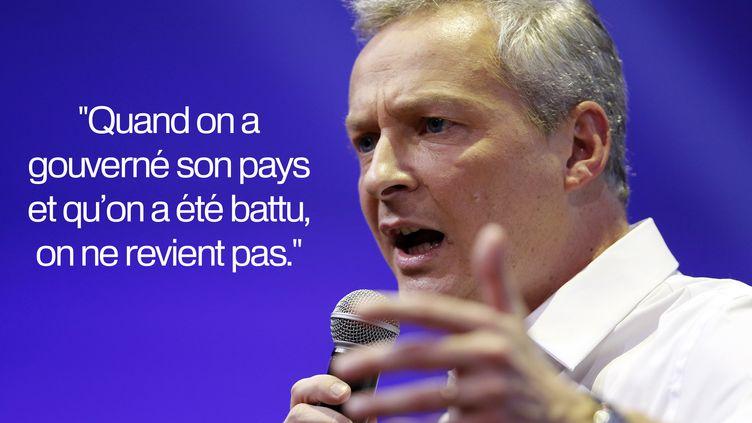 Bruno Le Maire n'épargne pas Nicolas Sarkozy, le 17 décembre 2015, sur France info. (MATTHIEU ALEXANDRE / AFP)