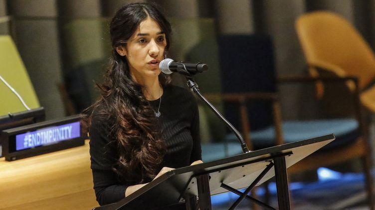L'activiste yézidie Nadia Murad à la tribune des Nations unies à New York, le 9 mars 2017. (KENA BETANCUR / AFP)