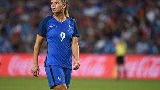 Eugenie Le Sommer, le 7 juillet 2017, à Montpellier (Hérault), lors du match amical France-Belgique. (SYLVAIN THOMAS / AFP)
