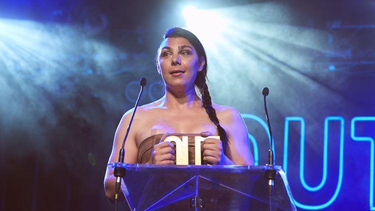 Alexia Cérénys lors de la cérémonie des OUT d'or 2019 (18 juin 2019). (CAMILLE RICHER pour l'AJL)