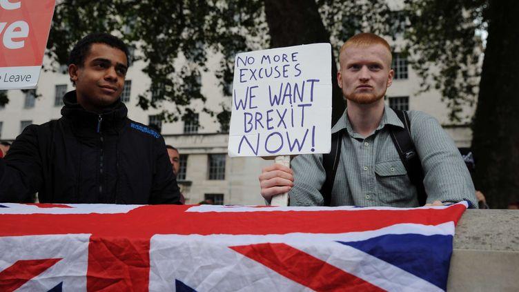 """""""Plus d'excuses, nous voulons le Brexit maintenant"""", peut-on lire sur cette pancarte brandie par un partisan de la sortie de l'Union européenne, le 3 septembre 2016 à Londres (Royaume-Uni). (MARC WARD / SHUTTERSTOCK / SIPA)"""