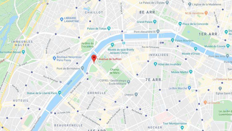 L'interpellation de Cédric a eu lieu, vendredi 3 janvier 2020, entrel'avenue de Suffren et le Quai Branly à Paris. (GOOGLE MAPS / FRANCEINFO)