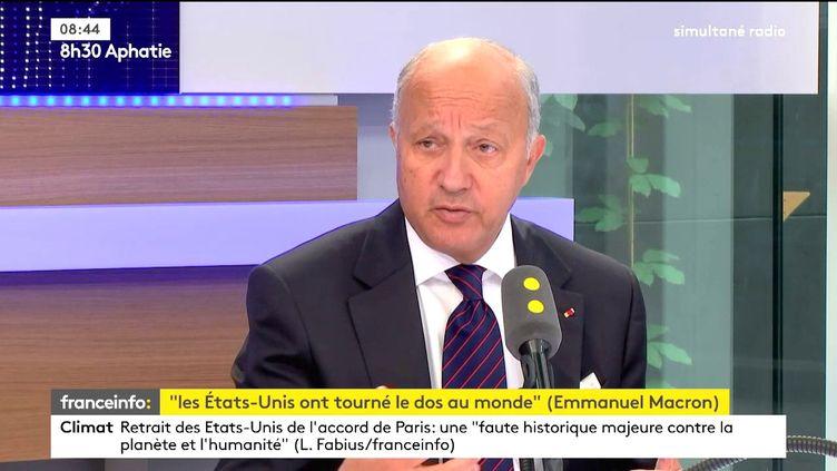 Laurent Fabius, le 2 juin 2017. (FRANCEINFO)