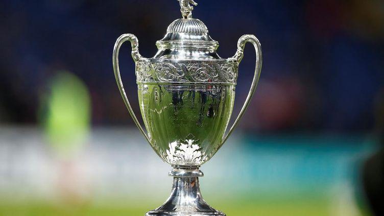 Le trophée de la Coupe de France exposé lors du match des huitièmes de finale entre le PSG et Guingamp au stade du Parc des Princes à Paris, le 24 janvier 2018. (CHARLY TRIBALLEAU / AFP)