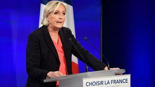 Marine Le Pen après l'annonce de sa défaite au second tour de l'élection présidentielle, le 7 mai 2017, à Paris. (BERTRAND GUAY / AFP)