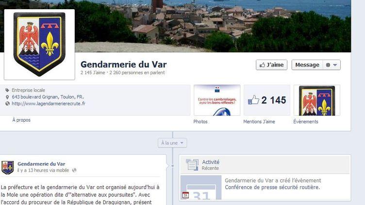 La toute nouvelle page Facebook de la gendarmerie du Var. (FACEBOOK / FRANCETV INFO)
