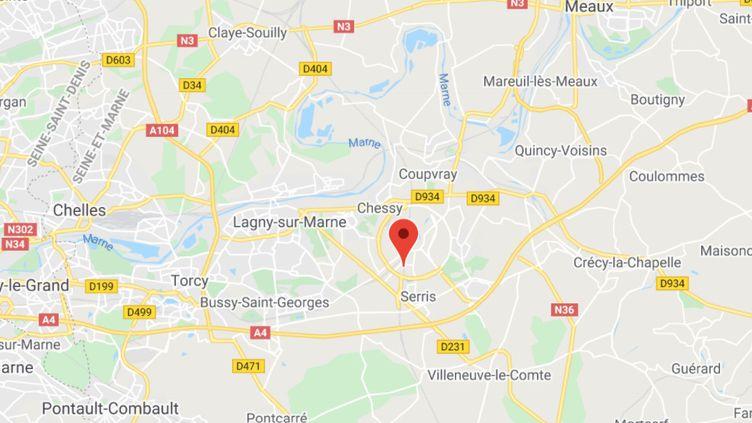 L'une des victimes a été géolocalisée près du centre commercial Val d'Europe, à Marne-la-Vallée (Seine-et-Marne). (CAPTURE D'ECRAN GOOGLE MAPS)