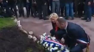 Marine Le Pen est dans les Alpes-Maritimes ce 1er-Mai. Elle a rendu hommage à Jeanne d'Arc devant une statue à Cannes avant de se rendre à Nice auprès de ses alliés européens. (FRANCE 3)