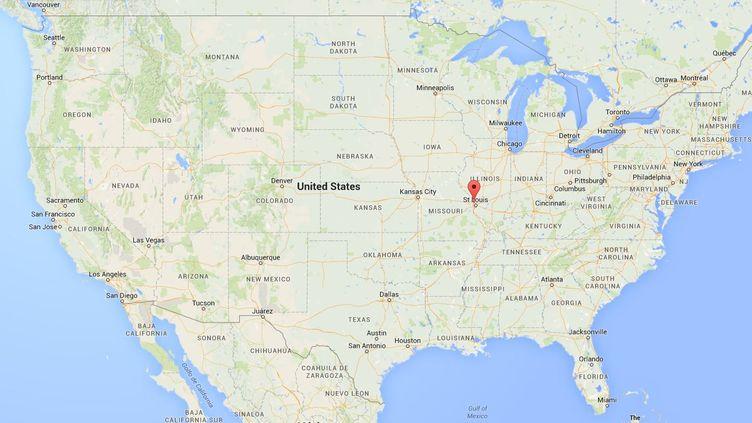 Capture d'écran de Google Map pointant vers la ville de Berkeley, dans le Missouri. (CAPTURE D'ECRAN GOOGLE MAP / FRANCETV INFO)
