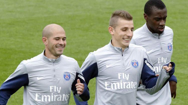 Les joueurs du PSG, Christophe Jallet, Lucas Digne et Blaise Matuidi