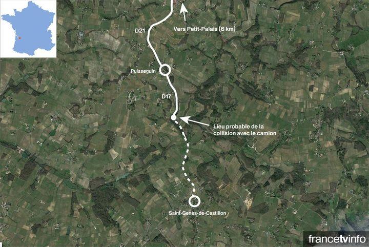 Carte de situation de l'accident qui a fait au moins 42 morts à Puisseguin (Gironde). (GOOGLE EARTH / FRANCETV INFO)