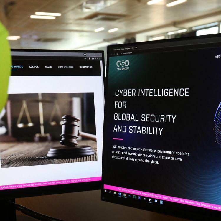 Le site internet de l'agence israélienne NSO qui commercialise le logiciel espion Pegasus, le 21 juillet 2021. (MARIO GOLDMAN / AFP)