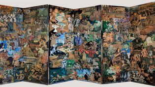 Exposition Claude-SIMON au musée d'art moderne de Collioure (Pyrénées-Orientales). Assemblage de papiers découpés et collés sur paravent vers 1956-58 (Richard Meier)